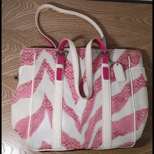 "Coach pink and white zebra tote bag ""loved"""